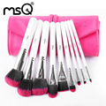 MSQ Professional 9pcs Makeup Brushes Set Travel Cosmetic Beauty Brushes Soft Synthetic Hair With PU Leather Case