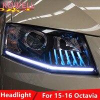 KOWELL Car Styling Head Lamp for Skoda Octavia Headlights LED Headlight ANGEL EYES DRL Bi Xenon Lens HID Automobile Accessories