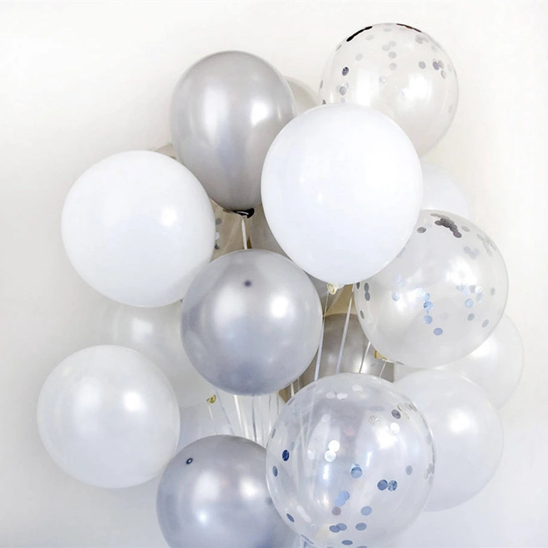 15pcs 12inch White Silver Confetti Balloons Set Latex Bouquet Balloon DIY Wedding Decoration Baby Shower Birthday Party Supplies