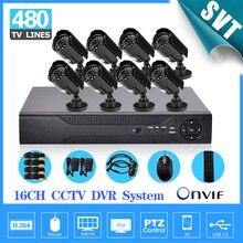 Дома 16ch видеонаблюдения Камера Системы 16ch HDMI DVR Открытый DayNight ИК-Пуля Камера комплект Цвет Товары теле- и видеонаблюдения Системы sk-204