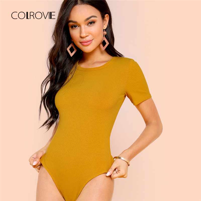 COLROVIE Yellow Solid Form Fitting Knitted Female Skinny Bodysuit 2018 Autumn Casual Mid Waist Short Sleeve Women Bodysuits