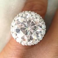 Подлинная твердого 14 К 585 Белое золото 13CTW 14 мм круглой огранки Обручение и свадьбы синтетический бриллиант кольцо двойной Halo Кольцо для жен