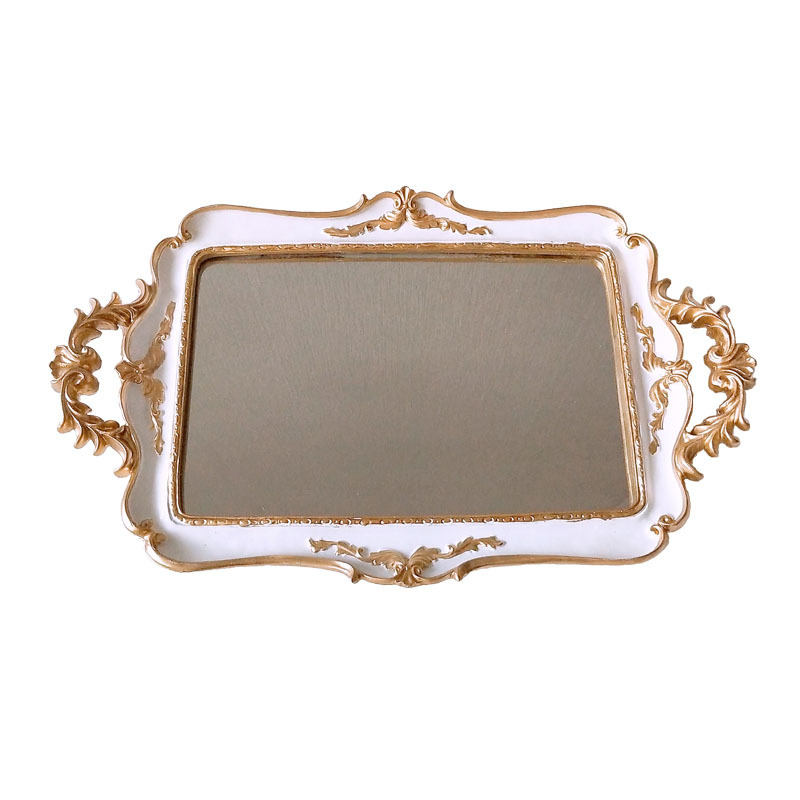 Retro Europe Resin Mirror Plates Jewelry Earring Necklace Tray Ivory White Palace Carved Flowers Golden Mirror