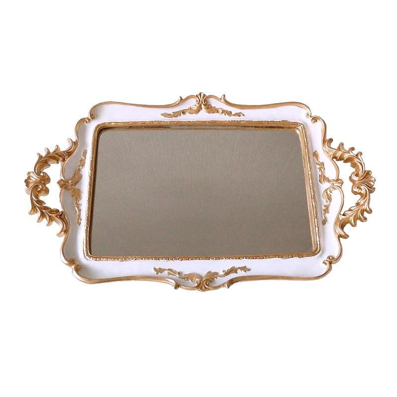 Plateau de rangement miroir en résine | Plaques de miroir rétro Europe, bijoux boucle d'oreille collier, ivoire blanc palais, fleurs sculptées miroir doré, plateaux de rangement