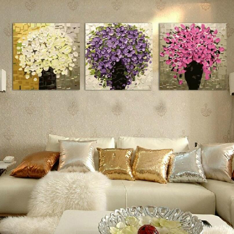 Three-picture Combination Flower DIY Painting By Numbers Hand Picture Wall Art Modern Oil Painting For Wedding Decoration