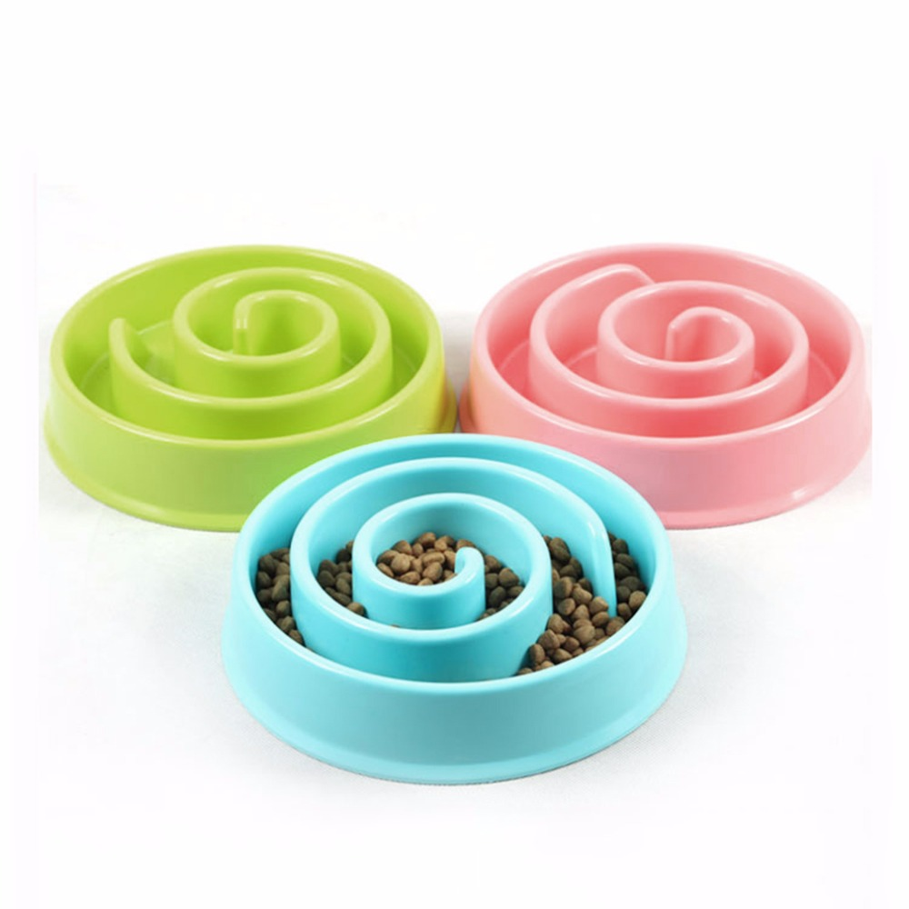 3 Colors Pet Dog Feeding Bowls Anti Choke Plastic Snail Shape Slow down Eating Food Prevent Obesity Healthy Diet Dog Accessories