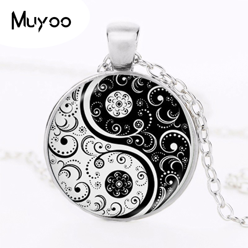 hot sale yin yang necklace tai ji shape black and white glass dome photo pendent chinese Taoism sign ancient Eight Diagrams HZ1