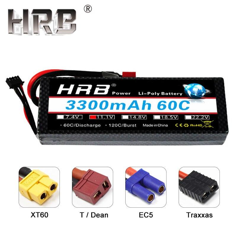 HRB Lipo batterie 3S 11.1V 3300mAh 60C étui rigide XT60 T prise EC5 mâle couvercle logement pièces pour RC voiture bateau 1/10 lame 350 QX2 QX3