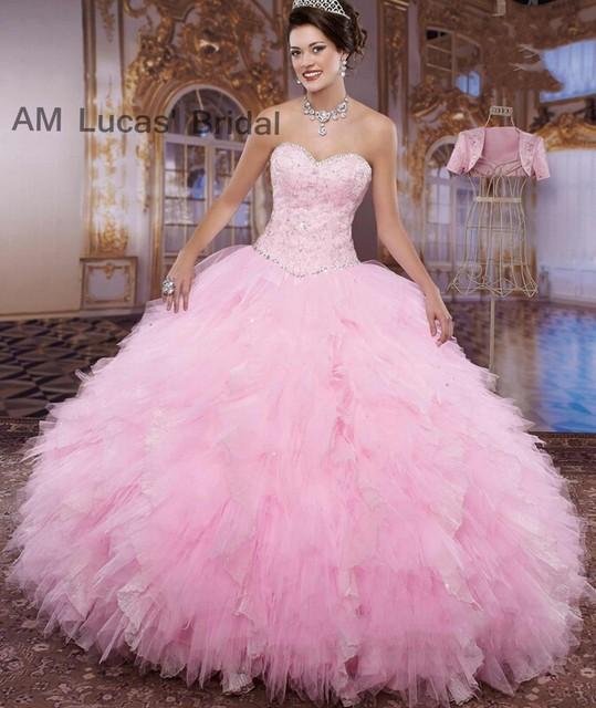 36de148bb Marca rosa blanco 2017 vestidos de quinceañera con la chaqueta con cuentas  piedras durante 15 años