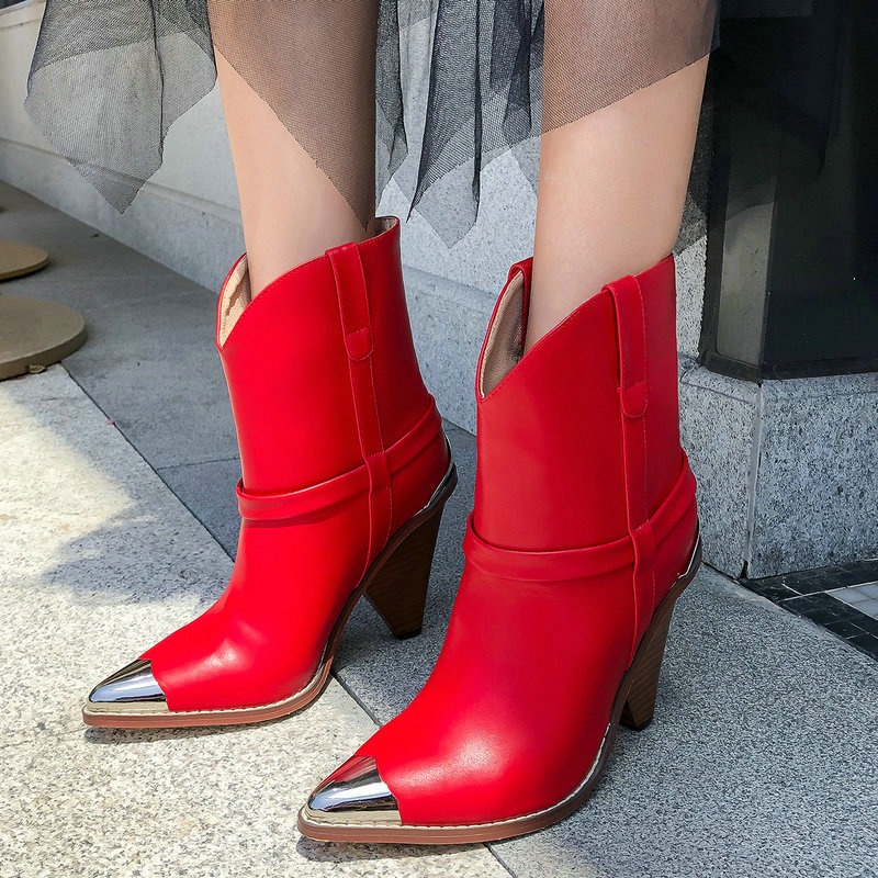Yellow Red Luxury Genuine Leather Ankle Boots Metal Pointed Toe Cowboy Boots Women Fashion Wedge Heel Western Boots Fall Boots