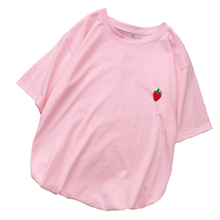 T Shirt Women Cotton T-shirt Harajuku Loose Casual Kawaii Strawberry Print Tops Tee Shirt Femme Streetwear Tumblr Korean Clothes
