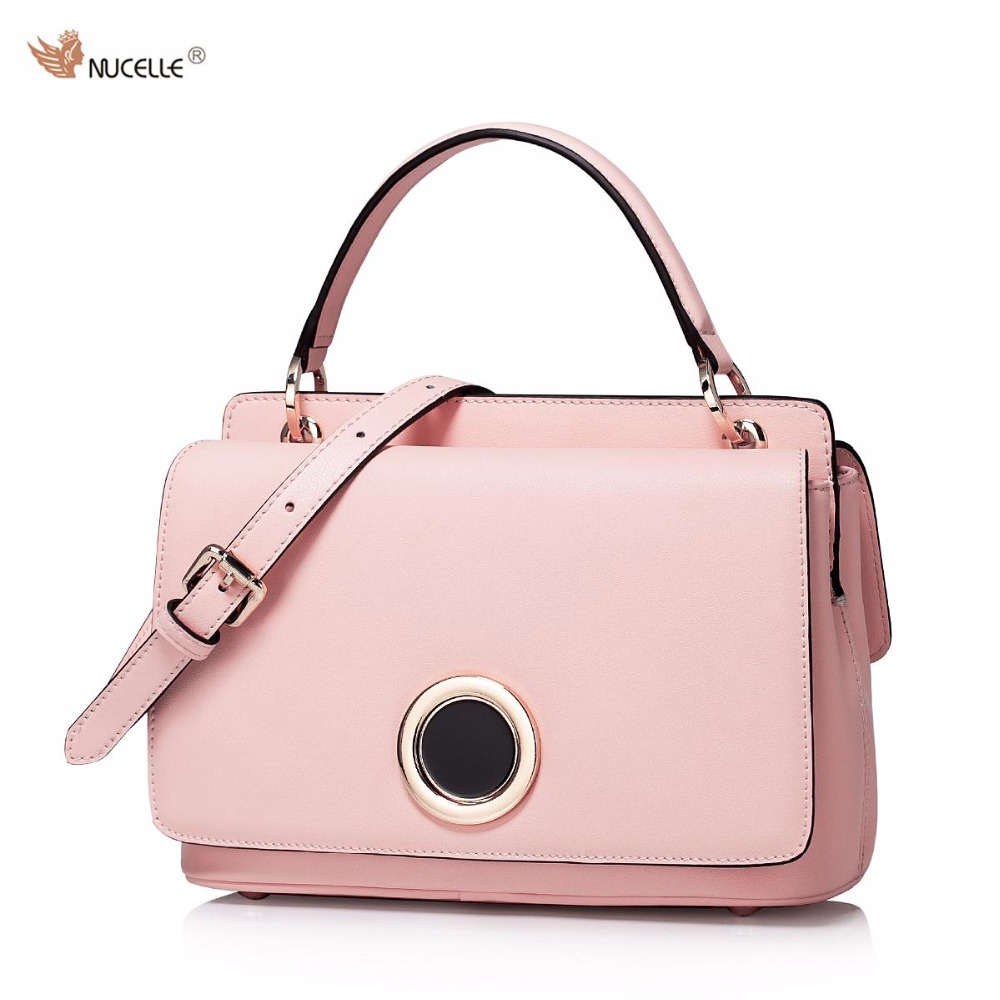 ФОТО  NUCELLE New Brand Design Fashion Magnetic Button Pure Cow Leather Women Ladies Handbag Shoulder Crossbody Flap Bags