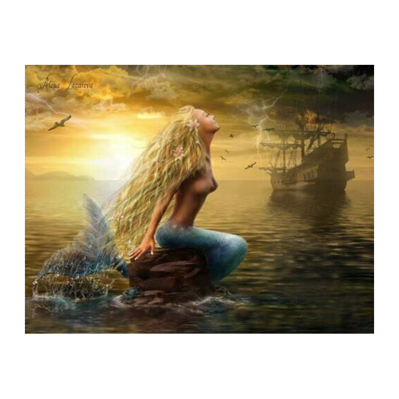 Buy abstract mermaid oil paintings wall for Decoration murale one piece