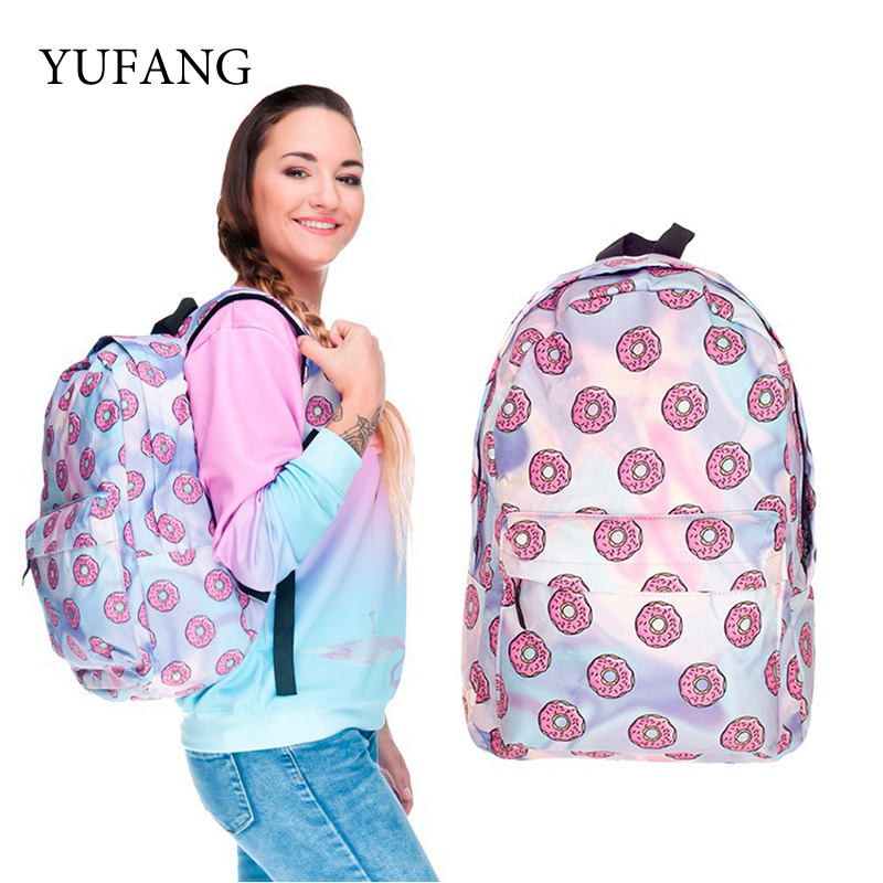 YUFANG 3D Printing Backpacks Holo Donuts Backpack for Girl Female Women Bag School Mochila Laptop Backpacks