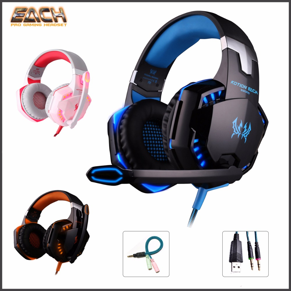 Kotion EACH G9000/G2000 Earphone Gaming Headset PS4 Gamer Stereo Gaming Headphone with microphone Led Light  For Computer each g8200 gaming headphone 7 1 surround usb vibration game headset headband earphone with mic led light for fone pc gamer ps4