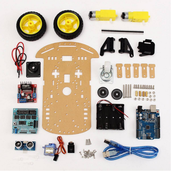 High-tech-spielzeug Zielsetzung 5 Pcs Tracking Motor Intelligente Roboter Auto Chassis Kit 2wd Ultraschall Für Arduino Mcu