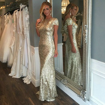 Sexy Backless Mermaid Bridesmaid Dresses Gold Sequined Pleats African Bridal Prom Dress Party Gowns Maid Of Honor Dress