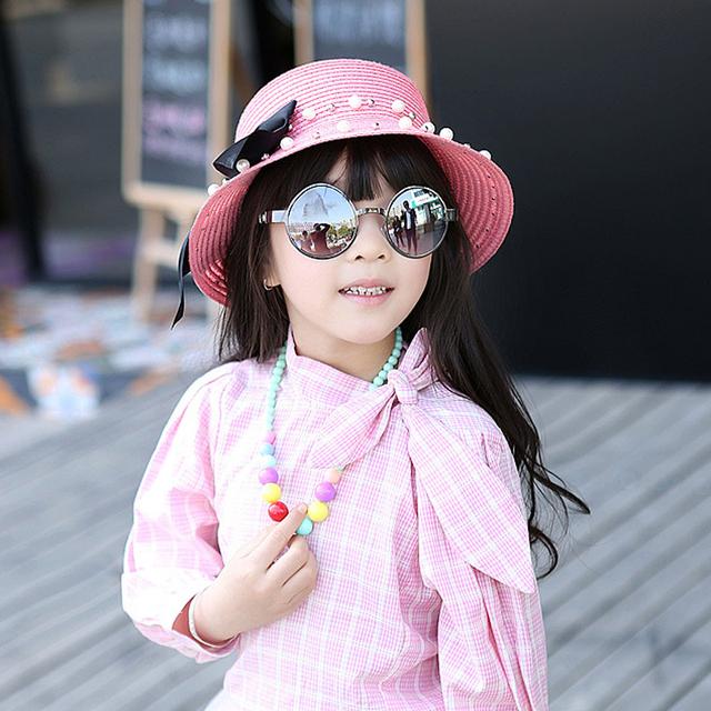 Nuevo Arco de La Manera Sombreros de Paja Del Verano Del Bebé Madre Padre-hijo Sombrero Mujeres Niñas Solid Regalo de Los Niños Playa Sombreros Chapeau Femme 3102