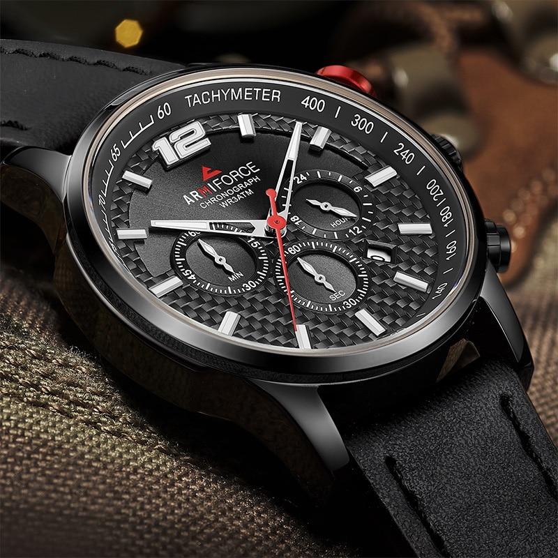 ARMIFORCE 2018 ใหม่ผู้ชายโครโนกราฟผู้ชายกีฬานาฬิกาข้อมือควอตซ์ผู้ชายทหารหนังกันน้ำวันที่นาฬิกา Relogio Masculino-ใน นาฬิกาควอตซ์ จาก นาฬิกาข้อมือ บน   1