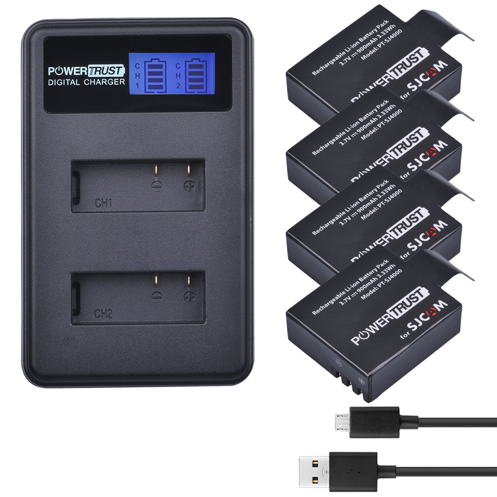 цена на 4x SJCAM sj4000 Camera Battery + LCD Dual USB Charger for sjcam sj 4000 SJ5000 sj5000x SJ6000 sj7000 sj8000 sj9000 wifi SJ M10