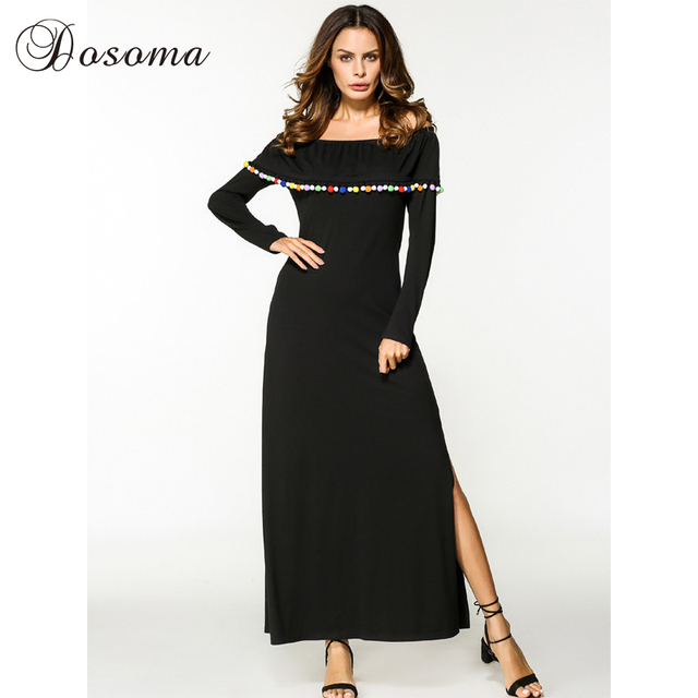 ad51bd29a71 Casual Maxi Dress Split Cotton Black Middle East Long Sleeve Abaya Loose  Style Muslim Robe Gown Moroccan Kaftan Islamic Clothing