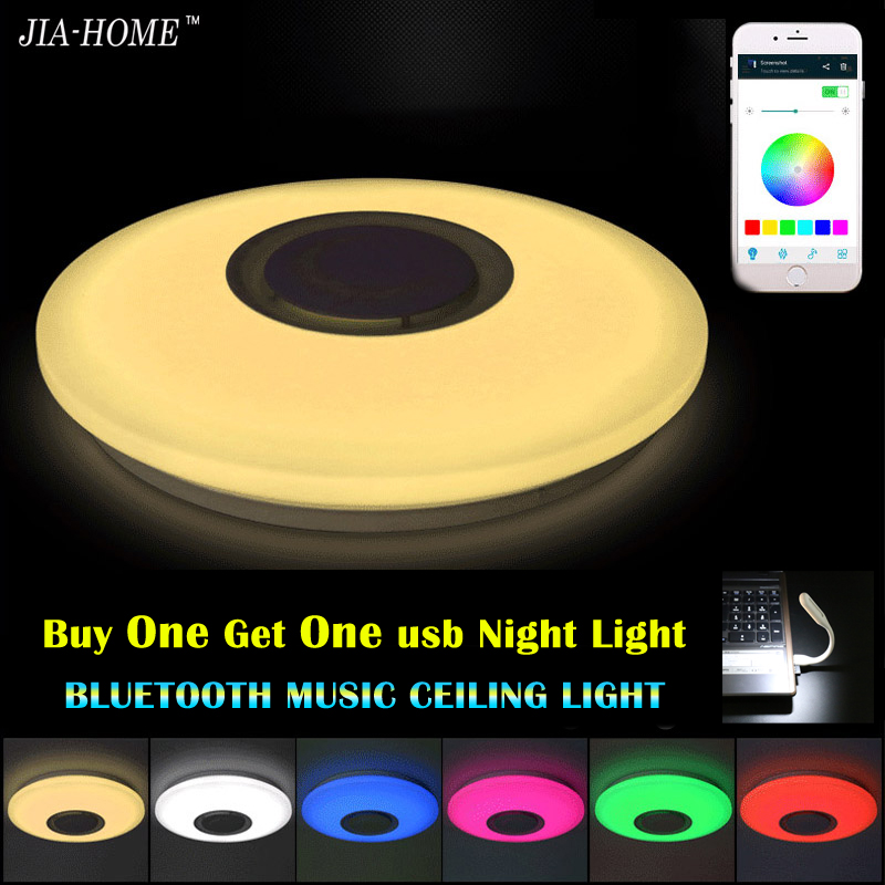 Music LED Ceiling Light With Bluetooth Control Color Changing Lighting  Flush Mount Lamp For Bedroom Ceiling