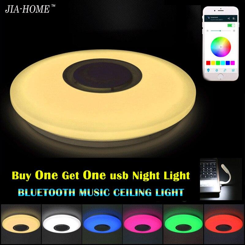 Musique LED plafonnier avec Bluetooth contrôle Changement de Couleur Éclairage encastré lampe pour chambre plafond luminaires