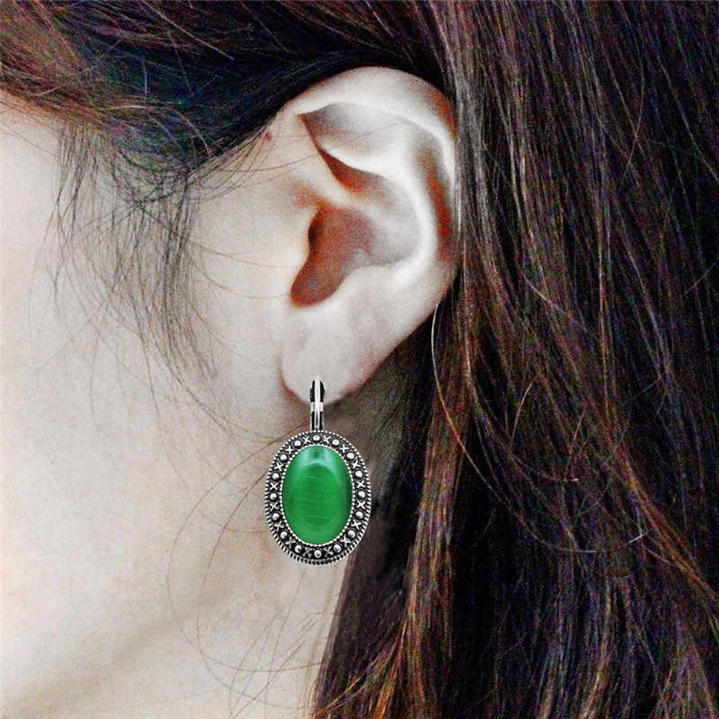 4 สีรูปไข่โอปอลต่างหูจี้ต่างหูสำหรับผู้หญิงเงินชุบโบราณเครื่องประดับแฟชั่นหิน