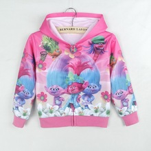 EMS/DHL Free shipping 2017 New Trolls Boy Girl Child Spring Autumn children Zip Hoodie Long Sleeved Sweater Coat Pink Color