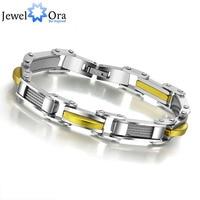 Fashion Man S Casual Hologram Bracelets Bangles Punk Stainless Steel Silver Gold Male Bracelet For Men