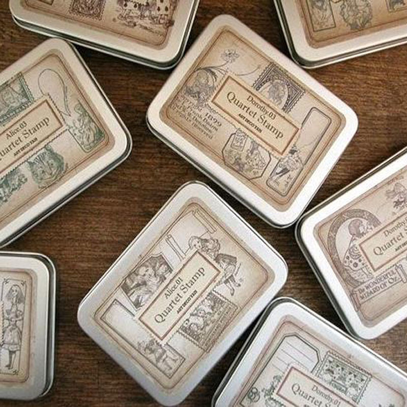 1 Set hot DIY Vintage Wood Stamp Retro Tin Box Alice Dorothy Stamps for Scrapbooking for school stationery scrapbooking stamp diy size 14cm 18cm acrylic vintage for photo scrapbooking stamp clear stamps for scrapbooking clear stamps 06
