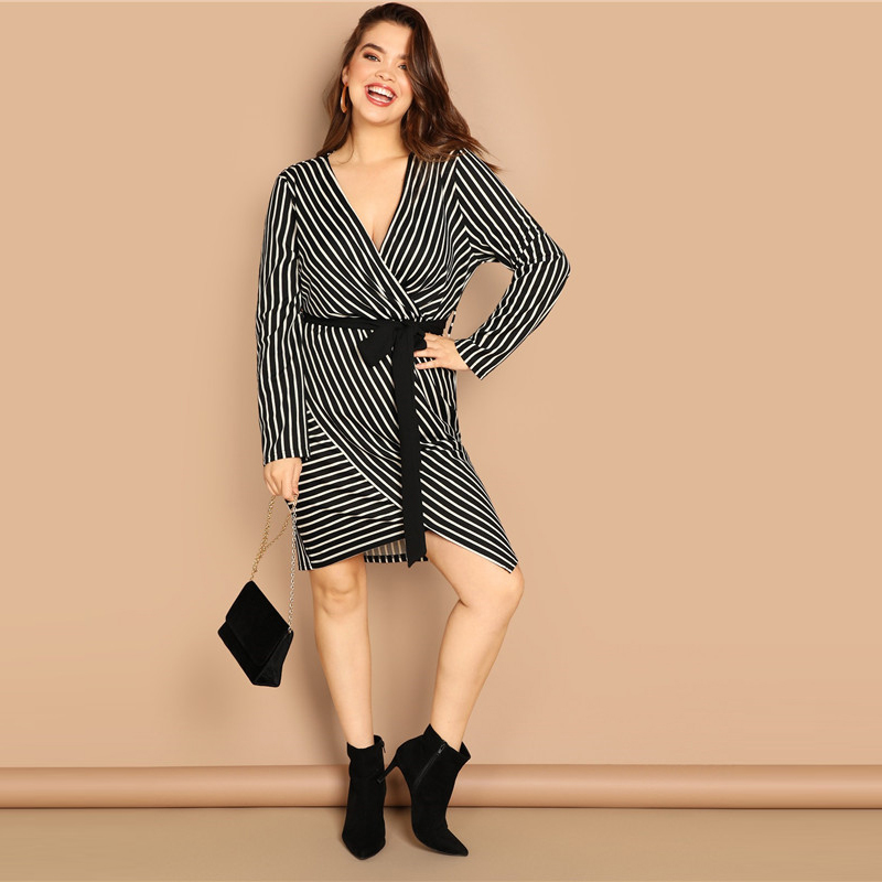 SHEIN Black and White Plus Size Deep V Neck Striped Dress Asymmetrical Hem Women Workwear Going Out Elegant Dresses 11