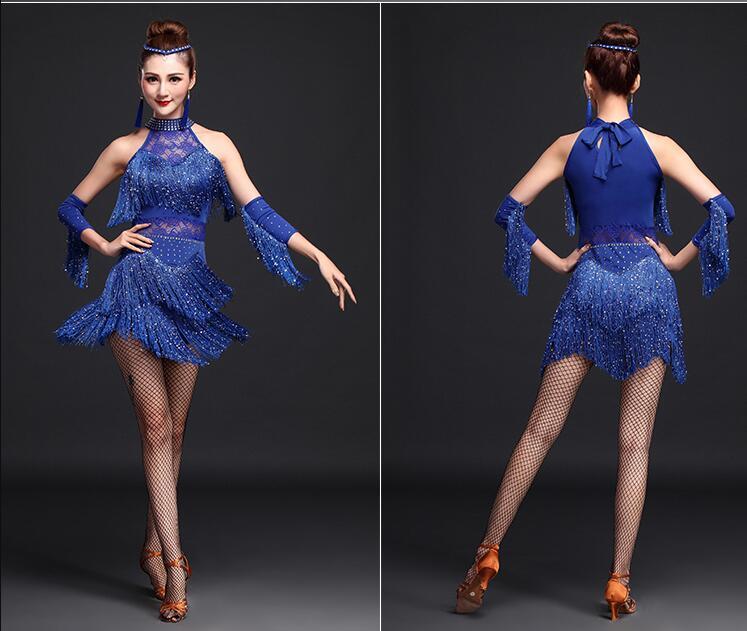 ded81f79b Leotardo de danza de Ballet para adultos espalda gasa hueca Spandex empalme  Ropa de baile aéreo. Nuevo vestido de baile latino 2018 ...