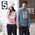 New Winter Men pijamas Mujer Flannel Warm Couple pajamas set winter autumn men women long sleeve sleepwear Indoor cloth