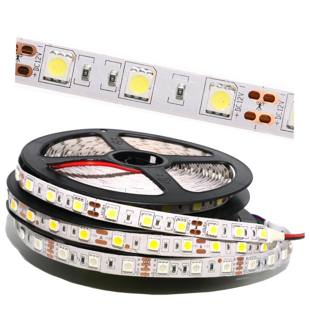 5050SMD LED Strip Light 60Leds/M RGB Led Stripe Flexible String Ribbon Led Tape DC12V Holiday Christmas Decoration Nonwaterproof