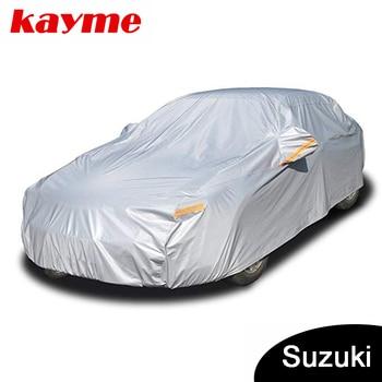 Kayme aluminium Waterproof car covers super sun protection dust Rain car cover full universal auto suv protective for Suzuki