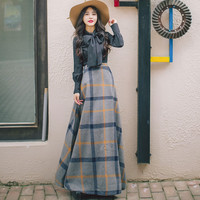 Mori girls 2017 new fashion brand bow long sleeve shirt + retro woolen plaid skirt suit sets wj822 free shipping lolita suits