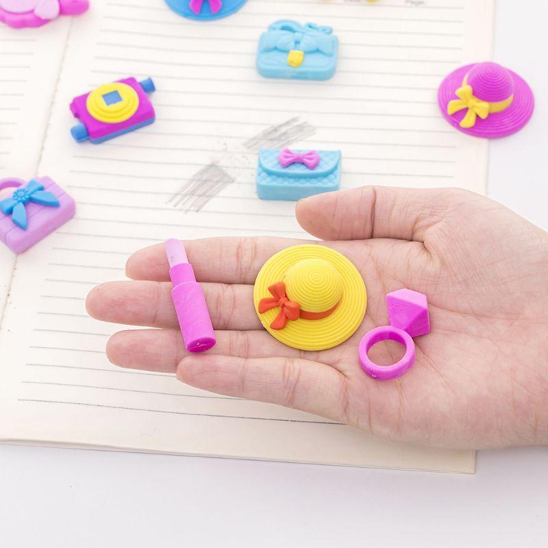 1 Set Leisure Holiday Sun Hat Handbag Pencil Rubber Erasers School Student Korean Stationery Correction Supplies Kids Gifts