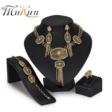 MUKUN 2018 Fashion Dubai Gold Jewelry Sets Brand Nigerian Wedding luxury African Beads for Women bridal Accessories