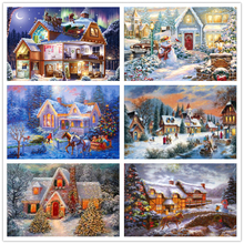 5D DIY Diamond Painting Beautiful Snow Landscape Winter Embroidered Full Rhinestone Mosaic Picture