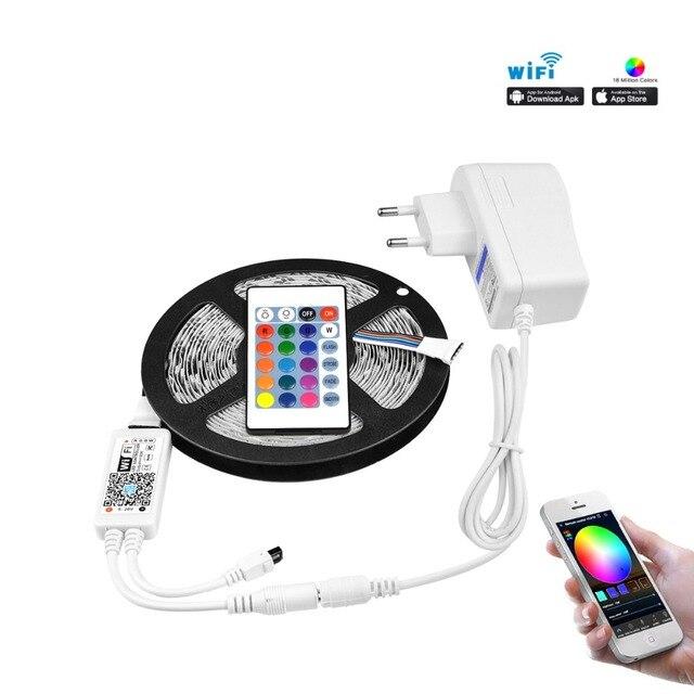 wholesale dealer 9634a ef0bd US $15.88 39% OFF|WIFI Wireless 5M RGBWW RGB RGBW LED Strip Light 5050 12V  LED Flexible Light LED Ribbon Diode tira Tape EU US power supply-in LED ...