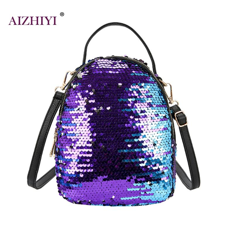 Sequins Women PU Backpacks Glitter Large Girls Travel Shoulder Bags Fashion Brand Black School Bag female mochila Shine Backpack brand women backpack pu leather school backpacks for teenage girls shoulder bag large capacity travel bags