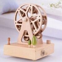 Unique Exquisite Wooden Music Box European Ferris Wheel Model Decoration Caixa De Musica Creative Caja Musical Gift For Children
