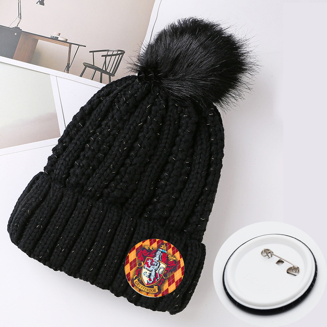38f77d3f94 US $8.99 |Giancomics Free ! Harri Potter Movie Hat Pin Knitted Cotton Adult  Cap Big Elasticity Warm Unisex Fashion Winter Christmas Gift-in Boys ...