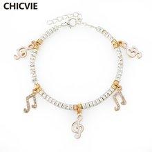 Женский браслет шарма chicvie золотой с музыкальной нотой регулируемое