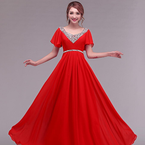 Multi Color Princess Sexy Chiffon Red V Neck Cap Sleeve Elegant Long