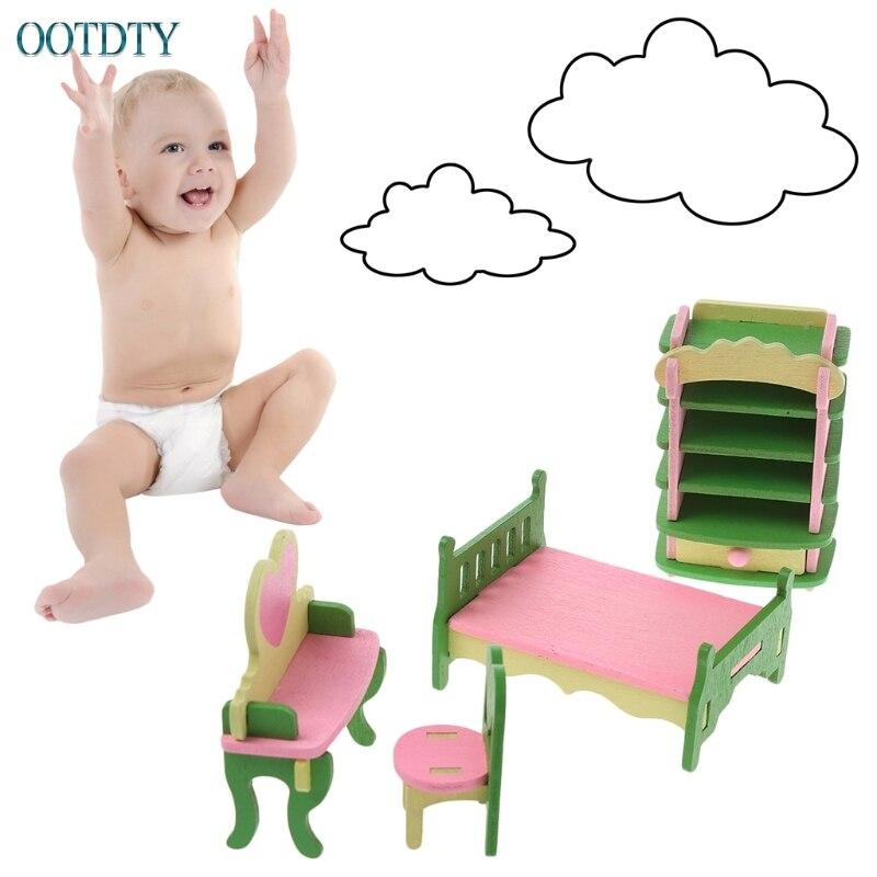 Детская деревянная мебель куклы дом Миниатюрный ванна кровать Гостиная детская игрушка в подарок #330