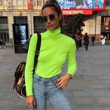 2018 Winter Harajuku Shirt Fashion Bright Color Women Sweatshirts Turtleneck Basic shirt Slim Ladies Pullovers