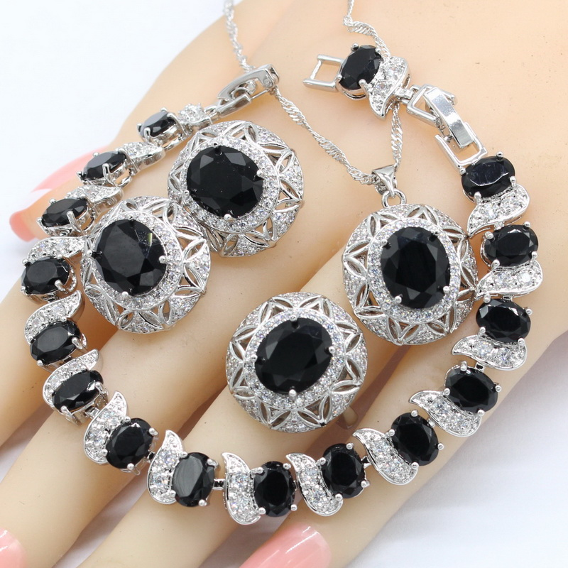 Ring-Bracelet Earrings Necklace Pendant 925-Jewelry-Sets Semi-Precious Christmas-Gift