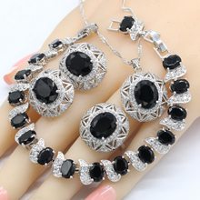 New Arrival Silver 925 Jewelry Sets For Women Black Semi-precious Necklace Pendant Earrings Ring Bracelet Christmas Gift(China)
